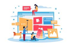 Young people create web site design. vector illustration