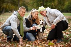 Young people with cute dog in park smiling Royalty Free Stock Photos