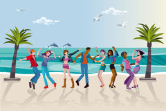 Young People Dancing at the Beach Stock Images