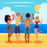 Young people dancing on the beach at a seaside party Royalty Free Stock Photo