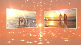 Young people dancing on the beach at sunset Royalty Free Stock Photos
