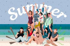 Young people dancing on the beach in swimming suits and shorts, cartoon style vector illustrations isolated on white background. Y stock illustration