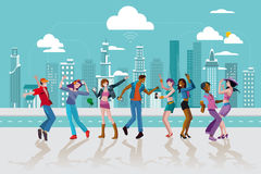 Young People Dancing In a City Royalty Free Stock Photography