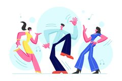 Young People Dancing on Disco Party. Man and Women in Fashioned Clothing Celebrating Holiday, Spending Time Together. Moving to Music Rhythm Happy Leisure and vector illustration