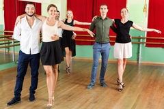 Young  people dancing waltz Royalty Free Stock Images