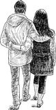 Young people on a date. Vector drawing of a loving couple on a stroll Stock Photo