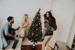 Young people decorate fir-tree for holidays of Christmas and New Stock Photography