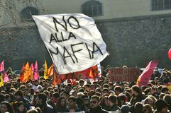 Demonstration against Mafia, the mob , in Italy. Young people demonstrate against the Italian Mob. Italian Organized Crime groups are involved in illegal royalty free stock photo