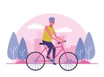 Young people doing outdoor activities. At city park vector illustration graphic design stock illustration