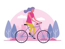 Young people doing outdoor activities. Young woman doing outdoor activities at city park vector illustration graphic design vector illustration