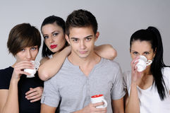 Young people  drinking. Beautiful young people drinking and celebrating Royalty Free Stock Photography