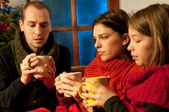 Young people drinking tea Royalty Free Stock Image