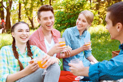 Young people eating and drinking during picnic Royalty Free Stock Photo