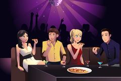 Young people eating pizza Stock Photo