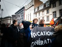 Young people Education in danger in France placard at protest Stock Image
