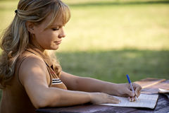 Young people and education, girl studying for university test Royalty Free Stock Image