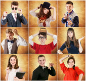 Young people emotional portraits Royalty Free Stock Photo