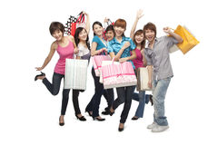 Young people excited about shopping Stock Image