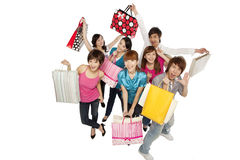 Young people excited about shopping Royalty Free Stock Image