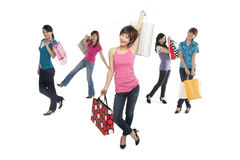 Young people excited about shopping Stock Images