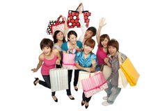Young people excited about shopping Royalty Free Stock Photos