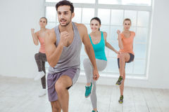 Young People Exercise Together Healthy Lifestyle Concept. Young active group of people exercise together healthy lifestyle Stock Images