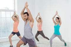 Young People Exercise Together Healthy Lifestyle Concept. Young active group of people exercise together healthy lifestyle Stock Image
