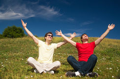Young people express positivity. Group of young people express positivity stock images