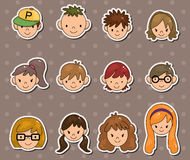 Young people face stickers Stock Images