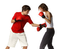 Young people in fighting gloves Royalty Free Stock Image