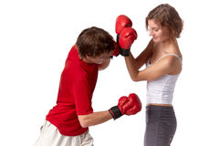 Young people in fighting gloves Royalty Free Stock Photos