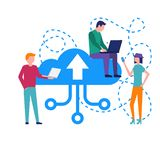 Young people with gadgets in hands download data to cloud storag. E. Cloud service online media file data backup storage. Upload download folder data disc Stock Illustration