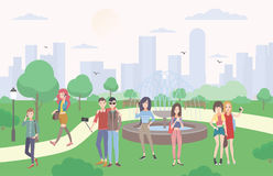 Young people with gadgets in the park. Guys and girls communicating by smartphone and mobile devices, make selfie. Colorful flat illustration Royalty Free Stock Images