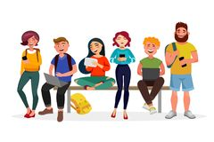 Young people gather together with gadgets. Youth spending time, walking, working and smiling. Men and women in casual. Style flat illustration with bright royalty free illustration