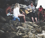 Young People Gathering Beach Leisure Friendship Concept Stock Image