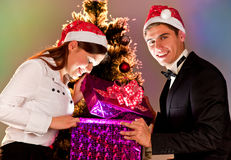 Young people are with gifts for the new year Royalty Free Stock Images