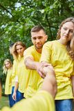 Young people give themselves help stock image