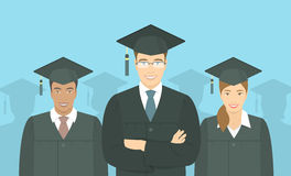 Young people graduate bachelor degree flat concept Stock Image