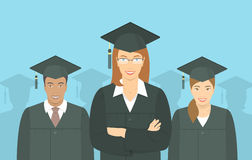 Young people graduate bachelor degree flat concept Royalty Free Stock Photography