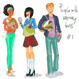 Young people with grocery bags Stock Image