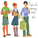 Young people with grocery bags Royalty Free Stock Photography