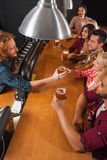 Young People Group In Bar, Barman Friends Sitting At Wooden Counter Pub, Drink Beer. Communication Party Celebration Stock Photography