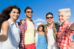 Young People Group On Beach Summer Vacation, Happy Smiling Friends Taking Selfie Photo Stock Photos