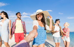Young People Group On Beach Summer Vacation, Happy Smiling Friends Taking Selfie Photo. Sea Ocean Holiday Travel stock photography