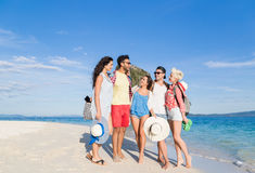 Young People Group On Beach Summer Vacation, Happy Smiling Friends Walking Seaside. Sea Ocean Holiday Travel royalty free stock photos
