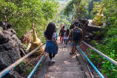 Young People Group Go Down Stairs Mountains Asian Holiday Summer Vacation Asian Travel Tourists stock photos