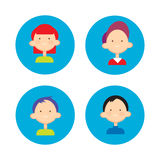 Young People Group Icon Set Teenager Children Avatar Stock Images