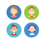 Young People Group Icon Set Teenager Children Avatar Royalty Free Stock Photography