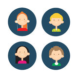 Young People Group Icon Set Teenager Children Avatar Stock Photos