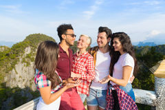 Young People Group Mountain View Point Happy Smiling Friends Talking Asian Holiday Summer Stock Photo